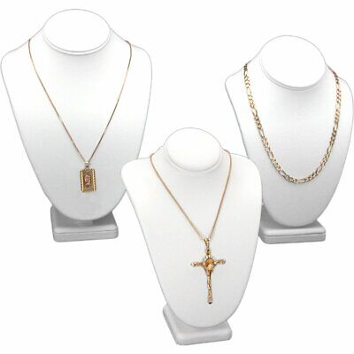 """3Pc White Necklace Chain Jewelry Display Bust 11"""""""