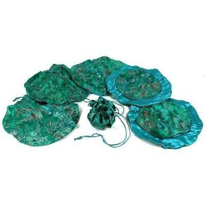 """Green Brocade Chinese Drawstring Jewelry Gift Bags Pouches 10"""" Kit 144 Pcs"""
