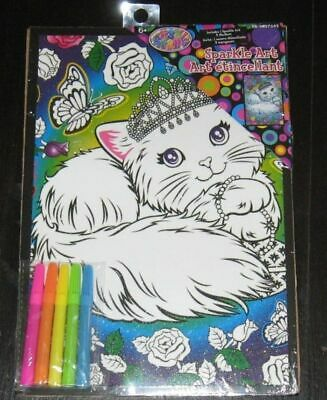 official Lisa Frank KITTY CAT Sparkle Art NEW in package! +5 markers Princess