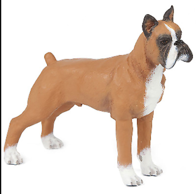 """13.25/"""" Tall Large Fawn Boxer Pet Dog Garden Greeter Statue With Jingle Collar"""