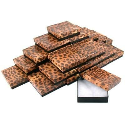 Leopard Print Cotton Filled Jewelry Gift Boxes 25Pcs