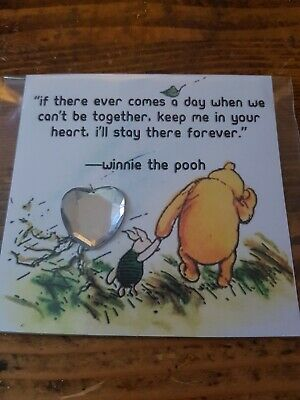 Winnie the pooh gift card pocket hug heart thinking miss you isolation distance