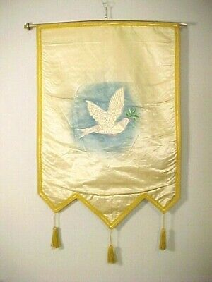 Old Antique Ioof Odd Fellows Rebekah Lodge Silk Embroidered Wall Banner Of Dove