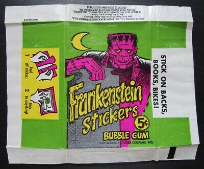 1966 Topps Frankenstein Stickers Wrapper  bubble gum wax pack Universal Pictures