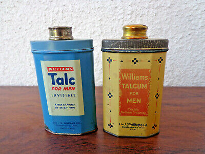 2 Vintage Williams Talcum For Men Tins Both  Full JB Williams Co Blue Yellow
