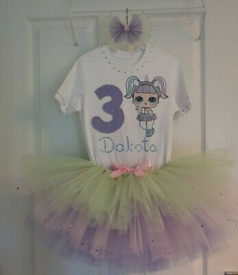 Personalised Birthday Outfit 3 pcs LOL surprise dolls Unicorn short sleeves