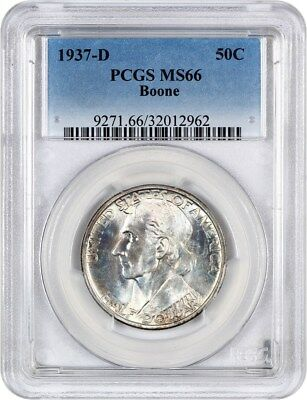 1937-D Boone 50c PCGS MS66 - Low Mintage Issue - Silver Classic Commemorative