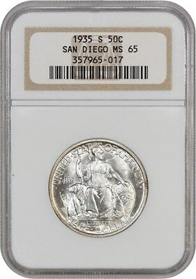1935-S San Diego 50c NGC MS65 - Silver Classic Commemorative