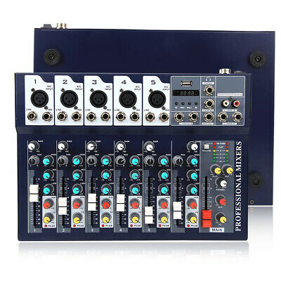 Audio Mixer Console Professional Mixing Amplifier Sound 7 Channel US Plug