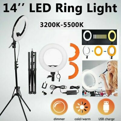 14'' LED SMD Ring Light Kit With Stand Dimmable 5500K For Camera Makeup Phone US