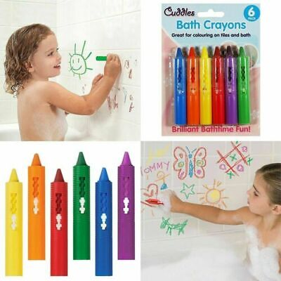 6 x WASHABLE BATH CRAYONS Crayon Kids Baby Bath time Paints Drawing Pens Toy UK