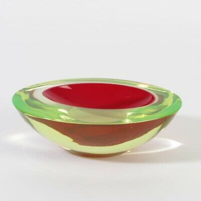 Cenedese Murano Glas ca. 1960-65 sommerso Schale oval Uranglas rot