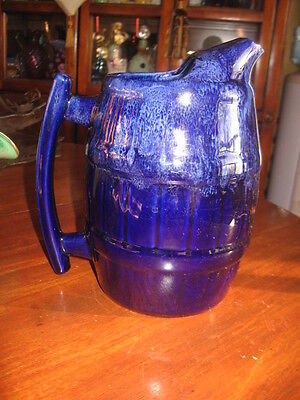 Beautiful Pitcher Beauce Canada Pottery Cobalt Blue 8.5 Tall