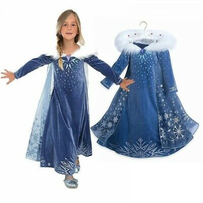 Girls Frozen Elsa Snow Queen Age 3-4 - 8-9 Fancy Dress Costume **UK FAST POST**