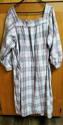 Vermont Country Store Flannel Plaid Nightgown Wht, Pink, Blue, Grn, Red 2XL