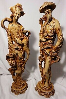Oriental Chinese Lady Woman and Man Figurine Resin Statue Ivory Imitation