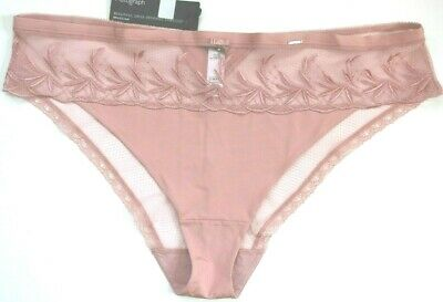 NWT  M/&S  AUTOGRAPH  PINK  SILK /& LACE   BRAZILIAN   STYLE   BRIEFS    SIZE 28