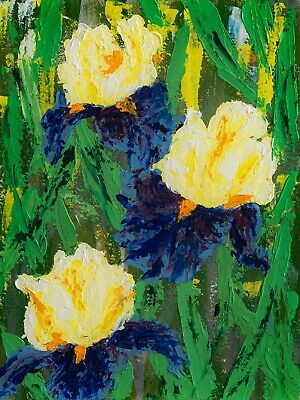 Blue yellow irises field iris flowers oil painting texture wild floral abstract