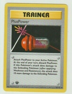 PL 1st edition Pokemon PLUSPOWER Card BASE Set 84//102 First ed Shadowless PLAYED