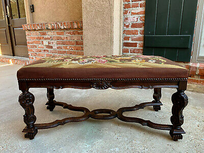 Large Antique French Carved Oak Bench Louis XV style Needlepoint Ottoman Stool