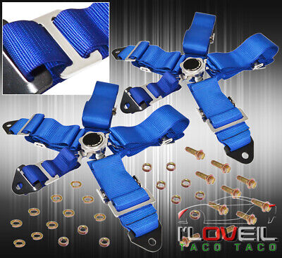 For Bmw X2 3 Inch 5-Pt Nylon Shoulder Harness Seat Belt Camlock Release Kit Blue
