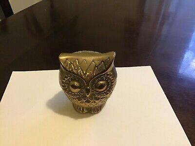 Small Antique Brass Owl  Figurine 2 1/4 inches tall