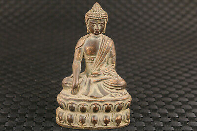 Chinese old bronze hand carved blessing buddha statue figure collectable