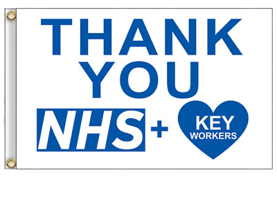 Thank You NHS + Key Workers Flag Large 5 x 3 FT - National Health Service Heart