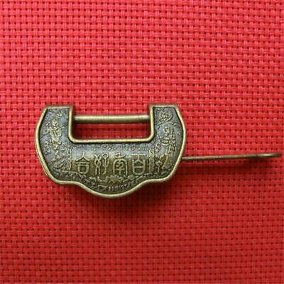 Antique Hanging Lock Chiinese Padlock Cabinet Old Vintage Kitchen Drawer Lock YW