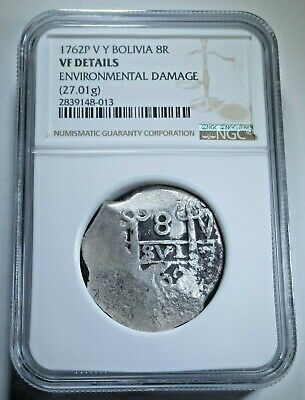 NGC 1762 Spanish Bolivia Silver 8 Reales Antique Graded Colonial Dollar Cob Coin