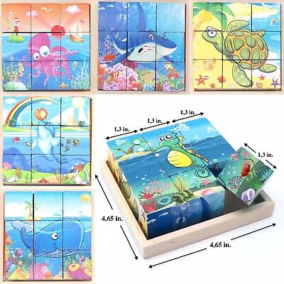 Children's Toy Cube Blocks For Kid Toddlers Educational Puzzle - Sea Creatures