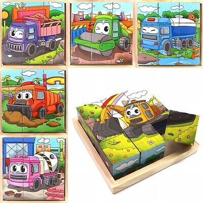 Learning Toy Cube Blocks For Kid Toddlers Educational Puzzle - Truck Series