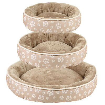 Me & My Pets Round Paw Print Fleece Dog Bed Soft Washable Puppy/Cat Cosy Cushion