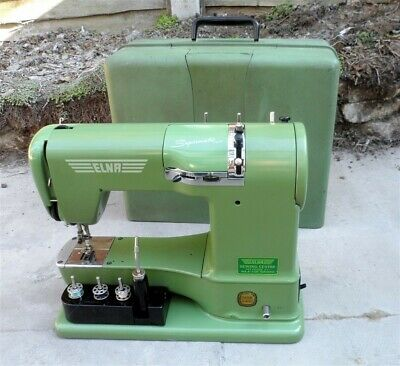 Vintage Cased Green Swiss Elna Supermatic Geneva Sewing Machine Tools Attachment