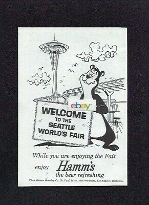 Hamm's Brewing Co Beer Refreshing Bear Welcomes You Seattle 1962 Worlds Fair Ad