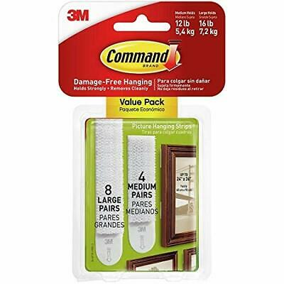 3M Command Strips - LARGE and MEDIUM Picture Hanging Strips ~Value Pack