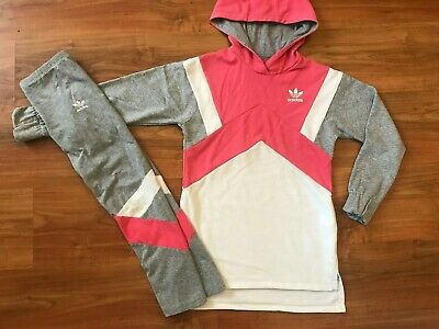 Girls PINK Grey ADIDAS ORIGINALS TRACKSUIT Hoodie (age8-10) *L@@K*