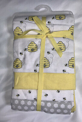 Hudson Baby Boy and Girl Flannel Receiving Blankets, 4-Pack, Bee Hives