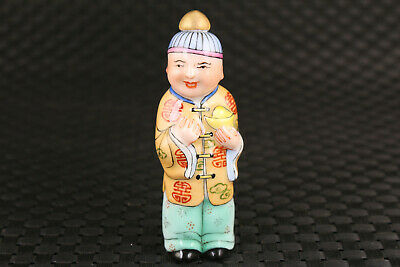 Fortune chinese old blue porcelain ancient times statue snuff bottle