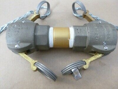 """1"""" Type D Camlock Female Double Ended Coupling W/ Covers - Aluminum Kamlok 633-D"""