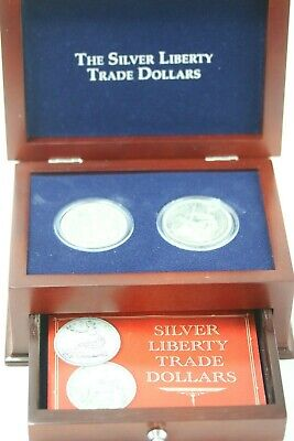 The Silver Liberty Trade Dollars (Set of 2) 1877 & 1886 // In Wood Case