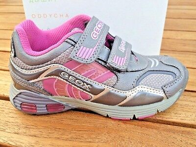 Geox Asari Grey and Pink Leather Girls Sneakers NON-Tie Little Girls Size 10 1/2