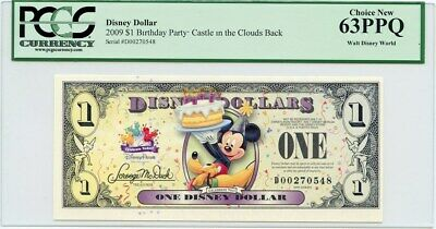 Disney Dollar: 2009 D $1 Birthday Party (Castle in the Clouds Back) PCGS 63 PPQ
