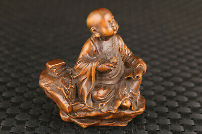 chinese old boxwood hand carved buddha statue netsuke Figure hand piece gift