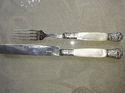 Silver Plated And Mother Of Pearl Knife And Fork