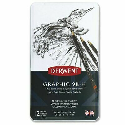 Derwent Graphic 9B-H Graphic Drawing Pencil - Pack of 12. New.