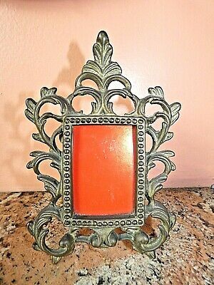 Antique Cast Iron Picture Frame Victorian Edwardian Ornate Vintage bronze Finish