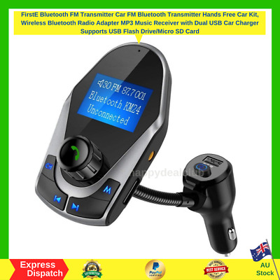 Nulaxy KM24 Car Bluetooth FM Transmitter Wireless Radio Adaptor Kit On/Off Grey