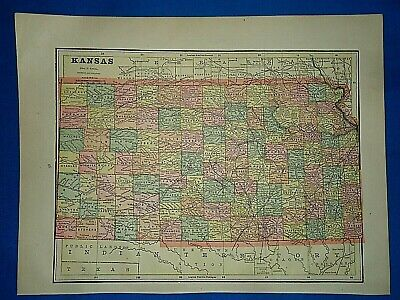 Vintage 1892 MAP ~ KANSAS - NORTHERN INDIAN TERRITORY ~ Old Antique Original
