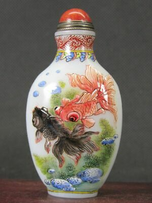 Fine Chinese Four Goldfish Hand Painted Peking Enamel Glass Snuff Bottle